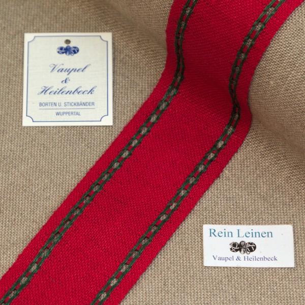 Leinenband mit Lochrand, 11-fädig, 50 mm, Farbe 209, rot - dunkelgrün