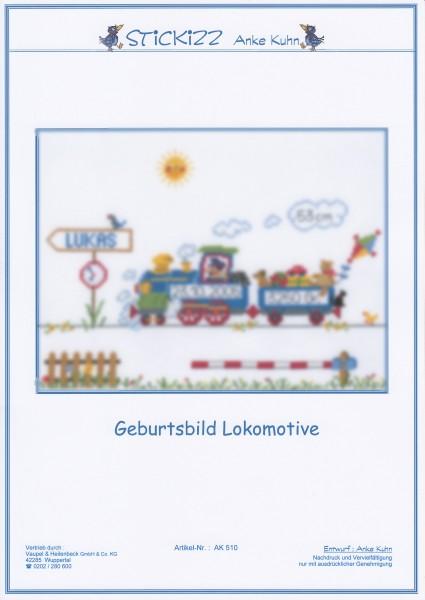 """Stickizz Kreuzstich No. AK510 """"Geburtsbild Lokomotive"""""""