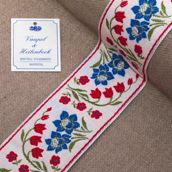 """Schmuckborte """"Blumenwiese"""" 52 mm, Farbe 016, weiß - rot"""