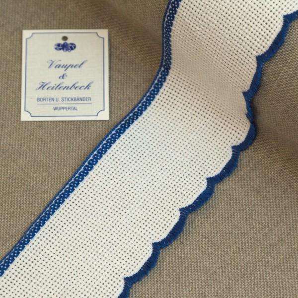 Aida-Stickband 100% BW, 55 mm, Farbe 19, weiß - blau