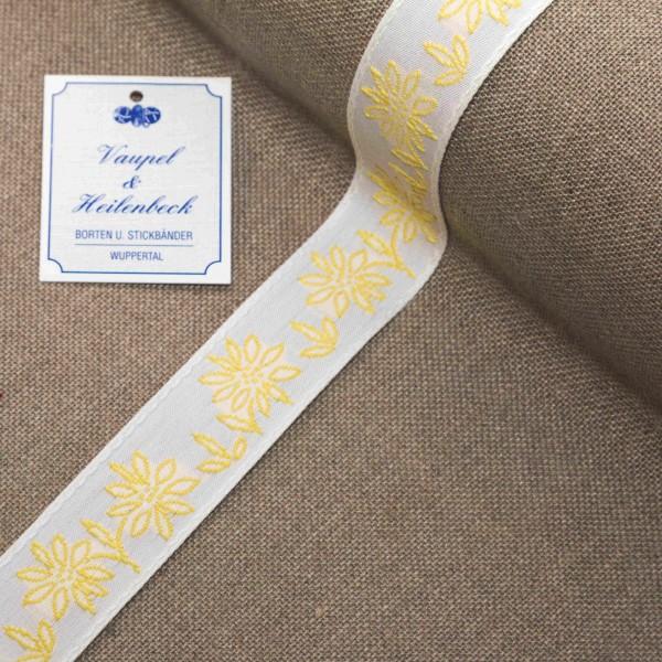 """Schmuckborte """"Margarite"""" 30 mm, Farbe 014, weiß - gelb"""
