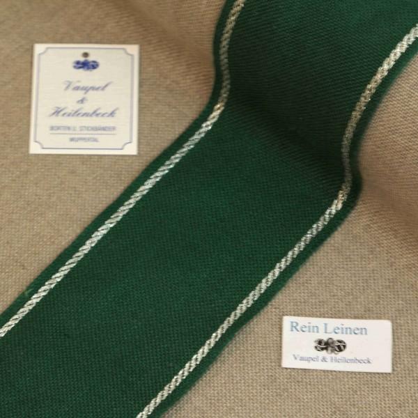 Leinenband 70 mm, 11-fädig, Rand gestreift, Farbe 95, grün - silber