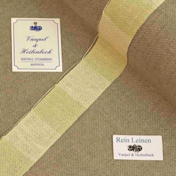 Leinenband 30 mm, 11-fädig, kariert, Farbe 215, reseda grün - reseda grün meliert