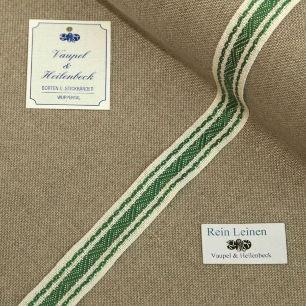 Leinenband mit Jacquardstreifen, 11-fädig, 20 mm, Farbe 23, gebleicht - grün