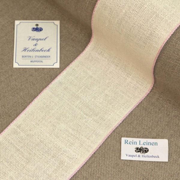 Leinenband 70 mm, 11-fädig, Farbe 12, gebleicht - Rand hell rosa