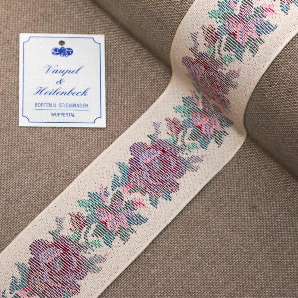 Schmuckborte antik 52 mm, Farbe 025, Eierschale - violett