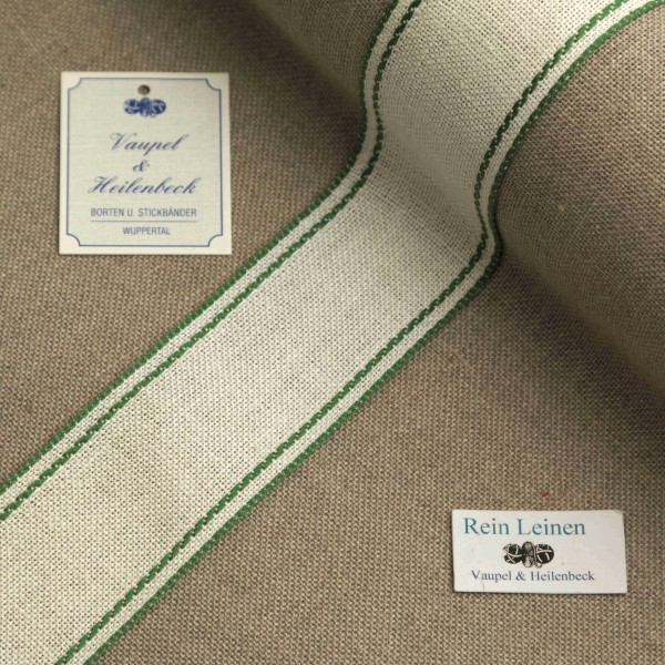 Leinenband 40 mm, 11-fädig, Rand gestreift, Farbe 23, gebleicht - grün