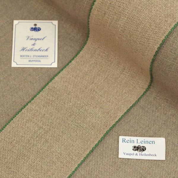 Leinenband 70 mm, 11-fädig, Farbe 23, natur - Rand grün