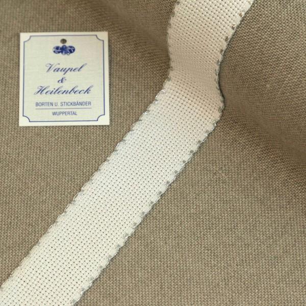 Aida-Stickband 100% BW, 30 mm, Farbe 95, weiß - Silberrand