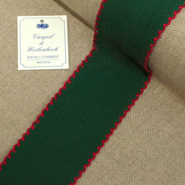 Aida-Stickband 100% BW, 50 mm, Farbe 8, grün - rot