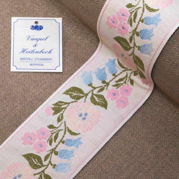 """Schmuckborte """"Blumengirlande"""" 60 mm, Farbe 180, weiß - rose"""