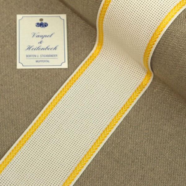 Aida-Stickband 100% BW, 55 mm, Farbe 4, weiß - gelb