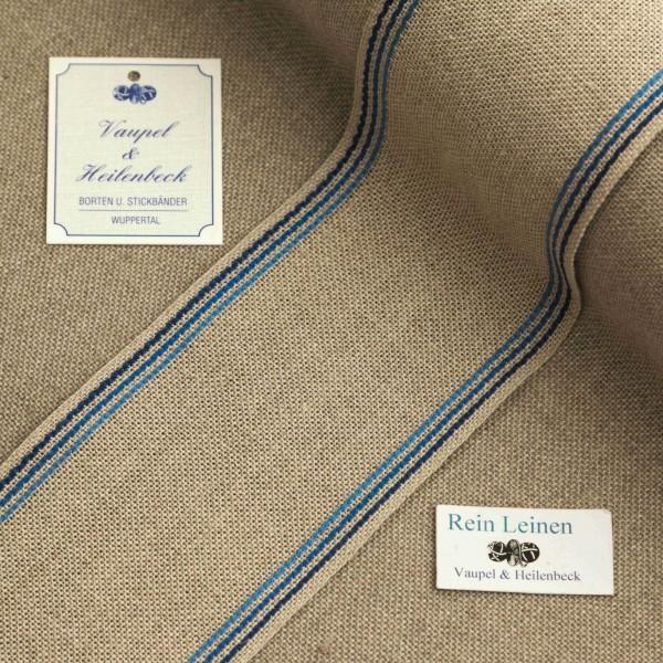 Leinenband 70 mm, 11-fädig, Rand gestreift, Farbe 114, natur - 3 farbig