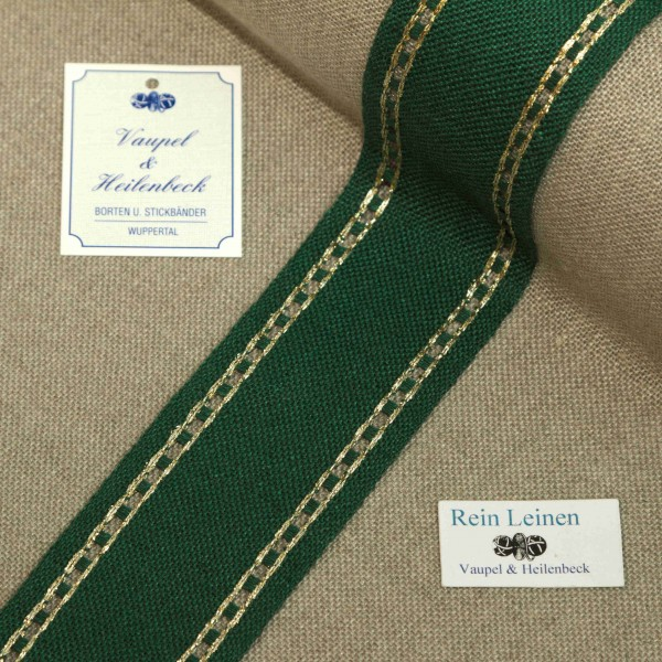 Leinenband mit Lochrand, 11-fädig, 80 mm, Farbe 90, grün - gold