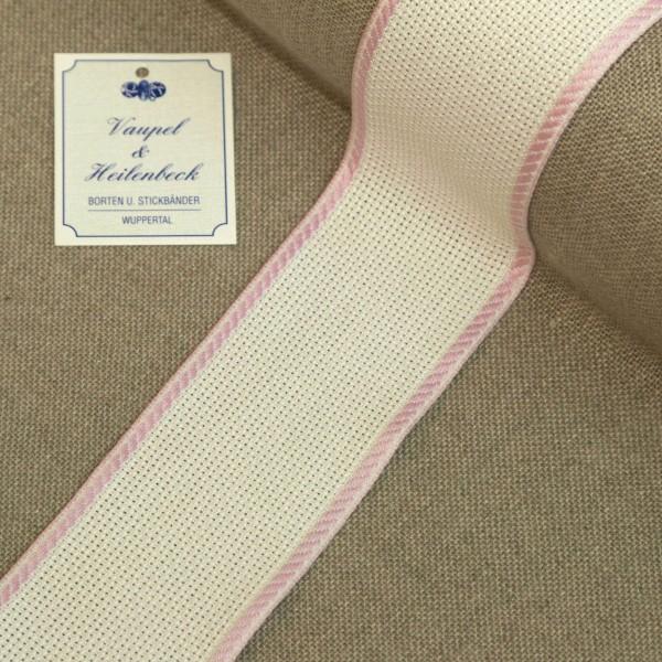 Aida-Stickband 100% BW, 50 mm, Farbe 12, weiß - hell rosa