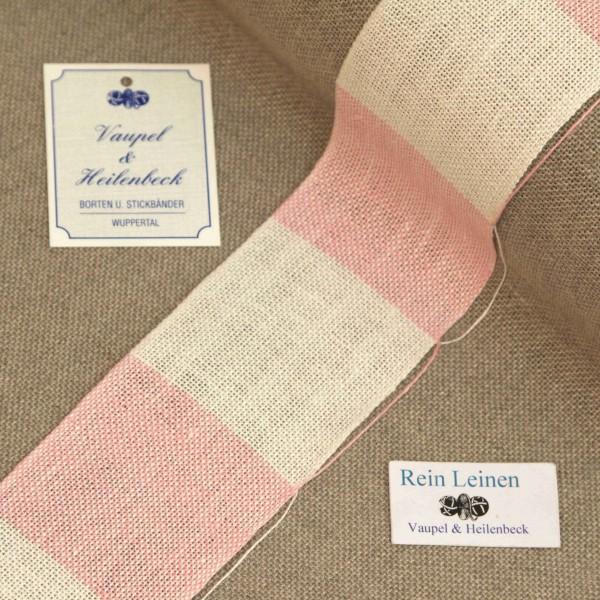 Leinenband 50 mm, 11-fädig, kariert, Farbe 900211, gebleicht - rosa meliert