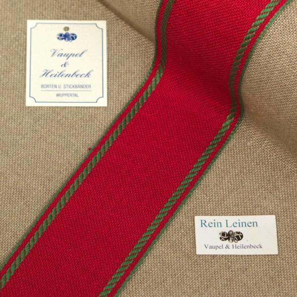 Leinenband 50 mm, 11-fädig, Rand gestreift, Farbe 23, rot - apfelgrün