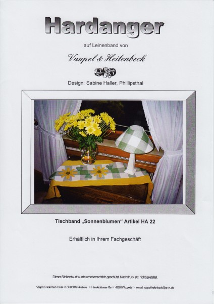 "Hardanger Stickanleitung ""Tischband Sonnenblumen"""