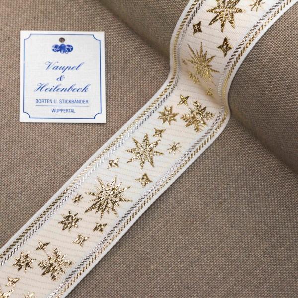 Schmuckborte 38 mm, Farbe 014, weiß - gold - silber