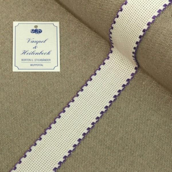 Aida-Stickband 100% BW, 30 mm, Farbe 33, weiß - dunkel violett