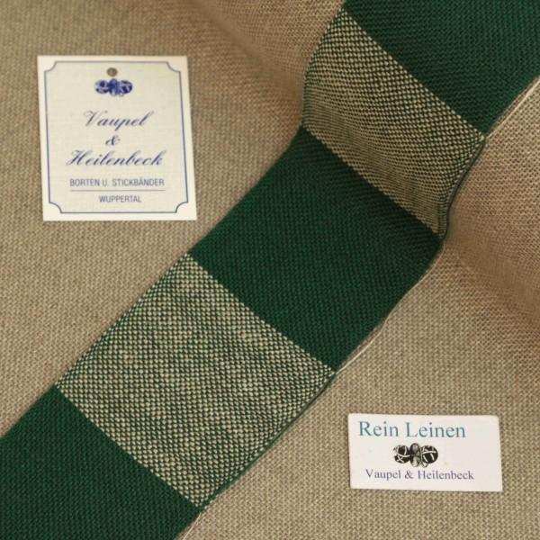 Leinenband 50 mm, 11-fädig, kariert, Farbe 209901, grün - grün meliert