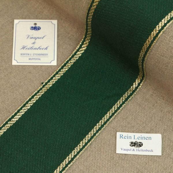 Leinenband 70 mm, 11-fädig, Rand gestreift, Farbe 90, grün - gold