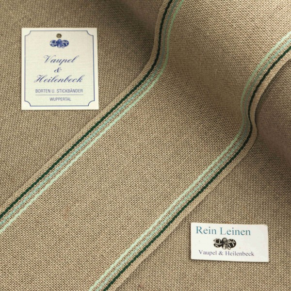 Leinenband 70 mm, 11-fädig, Rand gestreift, Farbe 124, natur - 3 farbig