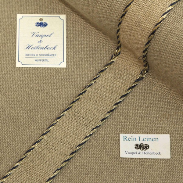 Leinenband 30 mm, 11-fädig, Farbe 1390, natur - Kordelrand BW dunkelblau - gold