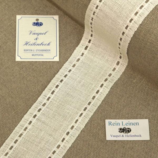 Leinenband mit Lochrand, 11-fädig, 50 mm, Farbe 100, weiß