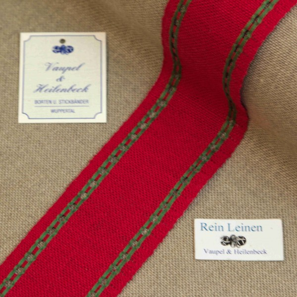 Leinenband mit Lochrand, 11-fädig, 50 mm, Farbe 23, rot - grün