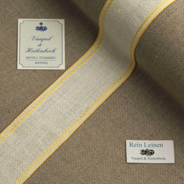 Leinenband 40 mm, 11-fädig, Rand gestreift, Farbe 4, gebleicht - gelb