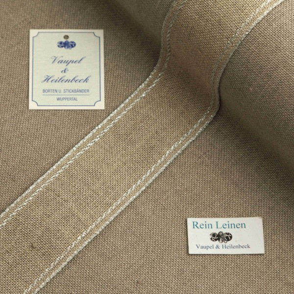 Leinenband 40 mm, 11-fädig, Rand gestreift, Farbe 95, natur - silber