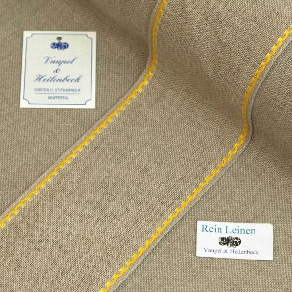 Leinenband 70 mm, 12-fädig, Rand gestreift, Farbe 4, natur - 2 farbig