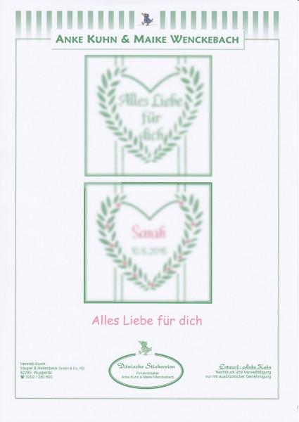 """Stickizz Kreuzstich No. AK546 """"alles Liebe für Dich"""""""