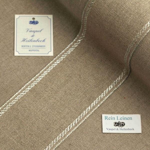 Leinenband 70 mm, 11-fädig, Rand gestreift, Farbe 95, natur - silber