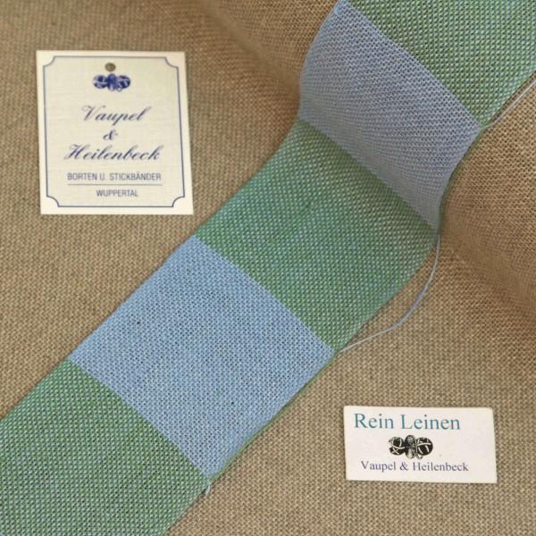 Leinenband 50 mm, 11-fädig, kariert, Farbe 212, hellblau - apfelgrün meliert