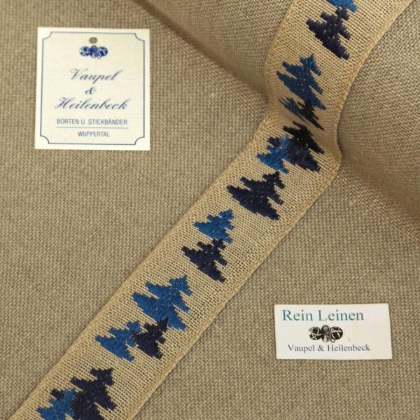 Leinenband 30 mm, 11-fädig, Motiv Tanne, Farbe 19, natur - blau