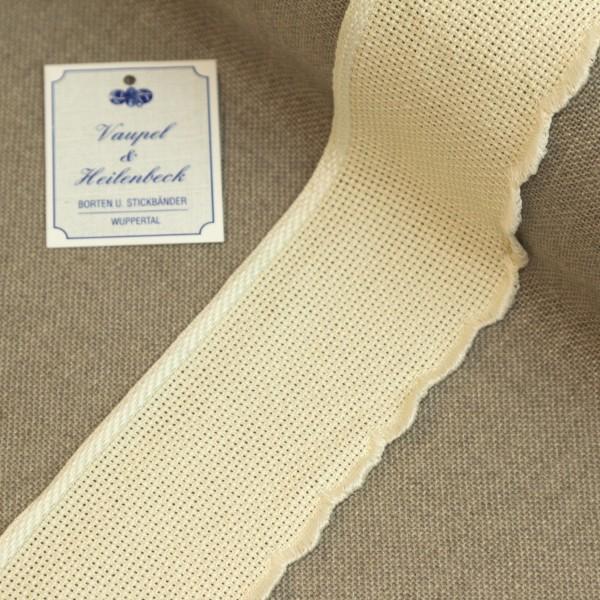 Aida-Stickband 100% BW, 55 mm, Farbe 30, beige - beige