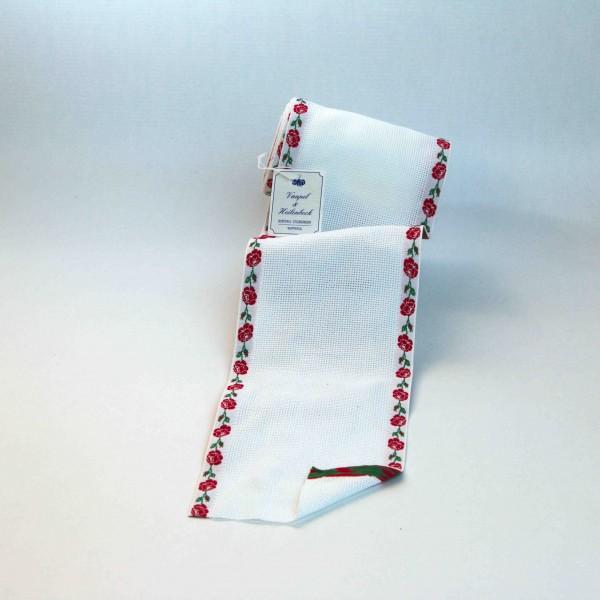 Aida-Stickband 100% BW, 120 mm, Farbe 8, weiß - Rose rot