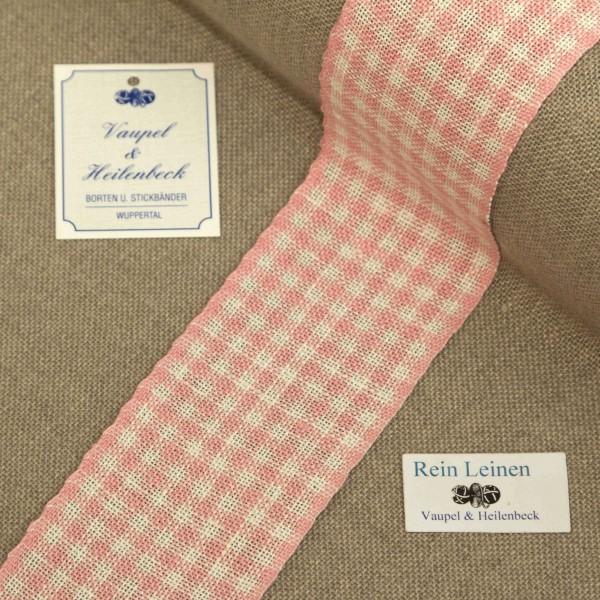 Leinenband 55 mm, 11-fädig, kariert, Farbe 211, gebleicht - rose