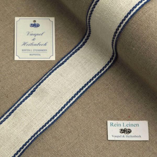 Leinenband 40 mm, 11-fädig, Rand gestreift, Farbe 214, gebleicht - dunkelblau
