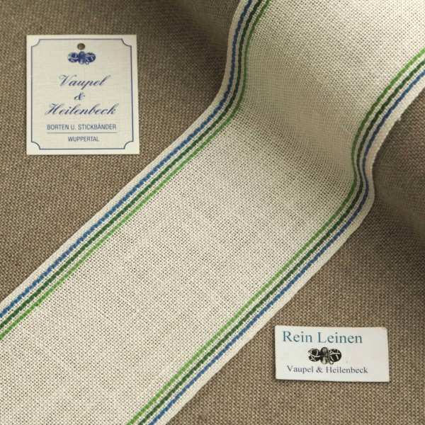 Leinenband 70 mm, 11-fädig, Rand gestreift, Farbe 119, gebleicht - 3 farbig