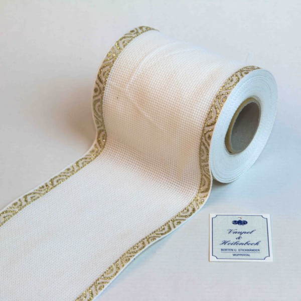 Aida-Stickband 100% BW, 100 mm, Farbe 1, weiß - Welle gold