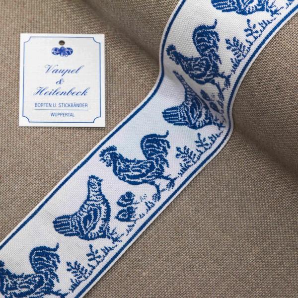 Schmuckborte 48 mm, Farbe 016 weiß - blau
