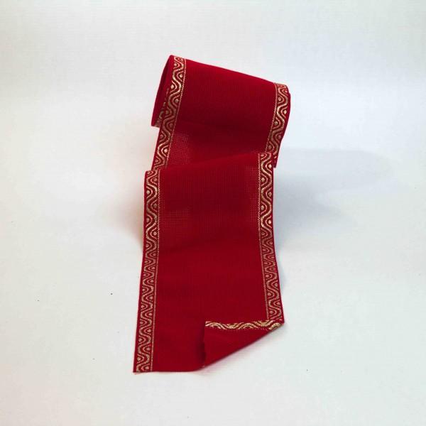 Aida-Stickband 100% BW, 120 mm, Farbe 90, rot - Welle gold