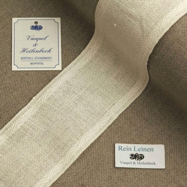 Leinenband mit Jacquardrand, 11-fädig, 60 mm, Farbe 1, gebleicht
