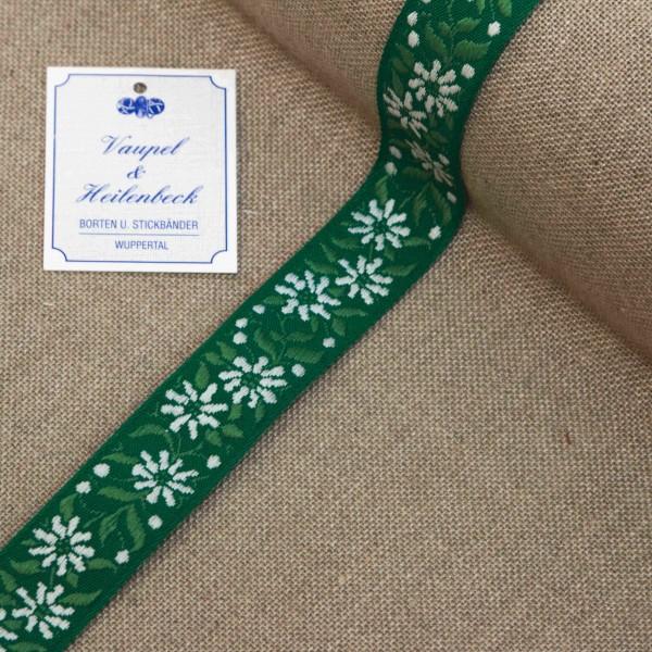 """Schmuckborte """"Enzian"""" 23 mm, Farbe 031, grün - weiß"""
