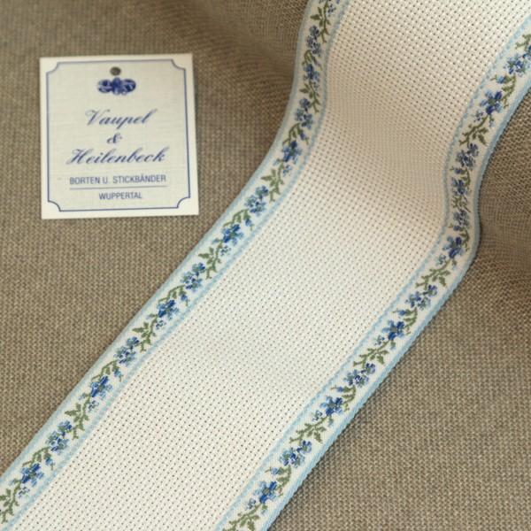 Aida-Stickband 100% BW, 60 mm, Farbe 19, weiß - Ranke blau