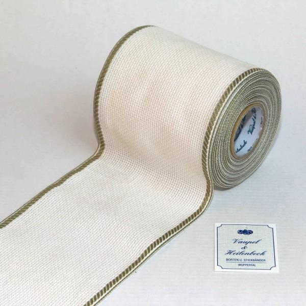 Aida-Stickband 100% BW, 100 mm, Farbe 21, weiß - khaki