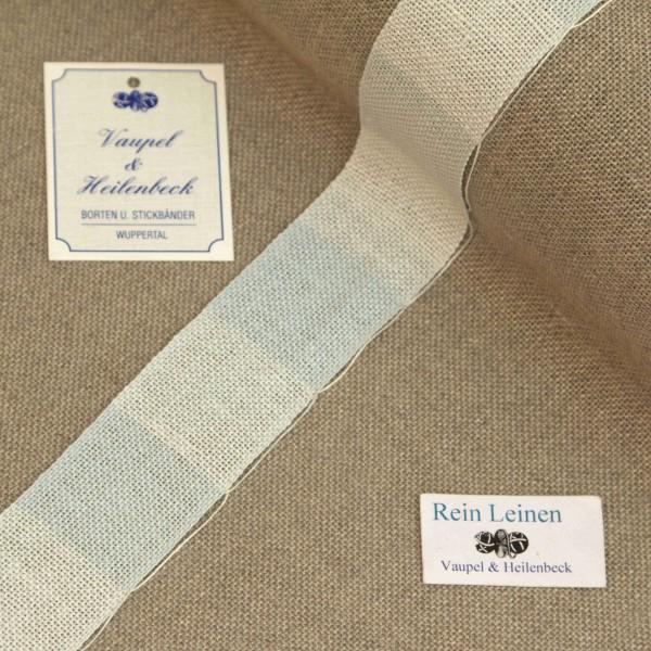 Leinenband 30 mm, 11-fädig, kariert, Farbe 220, eisblau - eisblau meliert